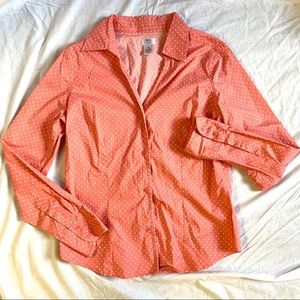 Tangerine Pink With White Polkadots Collar Shirt